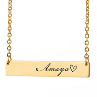 Custom Personalized Name Bar Necklace Gold for Women Stainle...