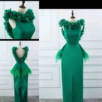 Green Sheath Prom Dresses Feather Peplum Satin Evening Gowns...