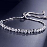 Nueva marca simple joyería de moda venta caliente 18k blanco oro llenado múltiples piedras preciosas cz diamante tirando ajustable afortunado pulsera para mujeres regalo