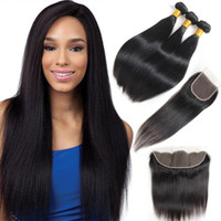 Brazilian Hair Extensions Straight Human Hair Bundles With C...