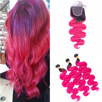 Two Tone 1B Pink Body Wave Ombre Hair Bundles with Closure B...