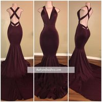 2018 New Burgundy Mermaid Prom Dresses Sleeveless Deep V Nec...