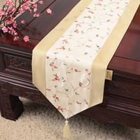 結婚式のサテンの布のテーブルクロスランナーのクリスマスパーティーの食卓のマット300x33 cmのための刺繍の果実の安い長いエレガントなテーブルランナー