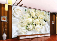 Custom large fresco 3D wall paper white silk roses photo wal...