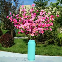 Flor de melocotón de tallo largo falso (5 tallos / pieza) Simulación de melocotón para escaparate casero Flores artificiales decorativas Centro de mesa