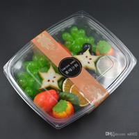 뚜껑이있는 투명 일회용 식기 점심 식사 상자 과일 샐러드 벤토 박스 스퀘어 탈출 런치 박스 0 56ZQ