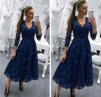 2018 mãe dos vestidos de noiva decote em v azul marinho comprimento do chá mangas compridas apliques de renda frisado vestido de hóspedes de casamento vestidos de noite