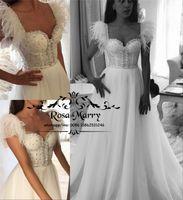 Modest Plus Size Feather Vestidos de novia baratos 2019 Una línea de cristales con cuentas Vintage Lace Beach Country Boho Vestido De Novia vestidos de novia