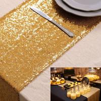 LQIAO 3 MM Sequin Table Runner Glitter Or Table Drapeau Fournitures de Fête Tissu Décoration Pour La Maison De Mariage Anniversaire Bébé Douche