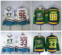 EJ Mighty Ducks Filme Jersey # 96 Charlie Conway Jersey 33 Greg Goldberg Costurado Mighty Ducks De Anaheim Filme Jersey De Hóquei