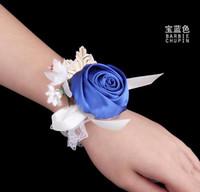 Cheap Bridesmaid Girl Wrist Corsage Rose Flower Organza Beads Flower Hand Flowers Wrist Corsages Wedding Supplies Wholesale Bridal Flowers