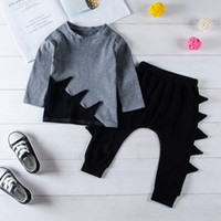 Dinosaur Kids Baby Boys Clothes Gray Top Black Pants 2- piece...