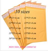 DingSheng 10 tamaños amarillo autoadhesivo poli burbuja impermeable Papel Kraft Transporte Embalaje Envoltura de sobres sobres Envoltura Envoltura Envase Bolsa de correo