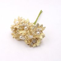 Wholesale- 60Pcs lot 4CM Glitter Pearl Daisy Artificial Flowe...