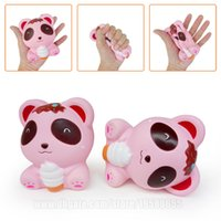 Pink Bear With Icecream Squishies Slow Rising Phone Strap Ka...