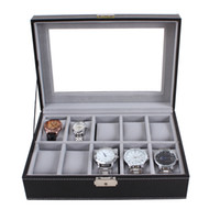 Luxus Senior 10 Slots Display Leder WatchBox Grau Samt Fall Organizer Halter Boxen, Uhrenboxen Fall Display Boxen Fabrik