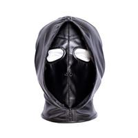 BDSM Restricciones de Bondage Coquetear Doble Cara Elástica Suave PU Máscara Esclavo Castigar Sombrero Juegos para Adultos Juguetes Sexuales Para Parejas
