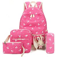 4Pcs / Sets Zaino 2018 Cartoon Rabbit Printing School bag Canvas Schoolbags per Teenage Cute Girls Bookbag per bambini