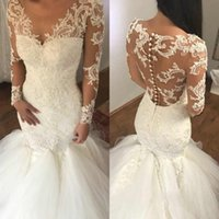 Sexy Mermaid Wedding Dresses Illusion Back With Button Lace ...
