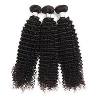 Heißer Verkauf 10A Reine Brasilianische Lockige Haarwebart 3 Bundles Unverarbeitete Brasilianische Remy Menschenhaar-webart Erweiterungen Natürliche Schwarze Farbe