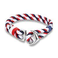 Высокое качество Anchor браслеты Мужчины Шарм Nautical Выживание Rope Chain Paracord Браслет Мужской Wrap Металл Спорт Крючки 10шт
