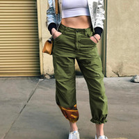 Weekeep Kadınlar Moda Kamuflaj Jogging Yapan Pantolon Kadın Askeri Harem Pantolon Pantalon Femme Pantolon Ayak Bileği Uzunlukta Pamuk Camo Pantolon