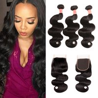 Brazilian Virgin Hair 3 Bundles With Closure 100% Unprocesse...