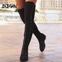 Front Lace- up Casual Thigh High Boots Fashion Pointed Toe Pl...