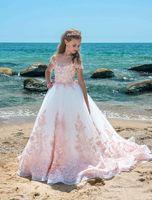 Белый тюль девушки цветка платья розовый кружева аппликации-line Cap короткие рукава суд поезд формальные платья партии дети дешевые свадьба 2019