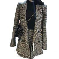 두 조각 세트 가을 겨울 여성 Houndstooth 치마 정장 캐주얼 모직 체크 무늬 블라우스 + 치마 세트 정장 여성 Office A784