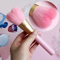 사랑스러운 귀여운 하트 모양 단일 블러쉬 소프트 염소 헤어 브러쉬 파우더 메이크업 브러쉬 핑크 핸들 PP 브러쉬