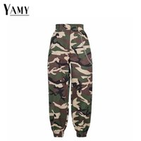 2018 new high waist cargo pants women camouflage sweatpants ...