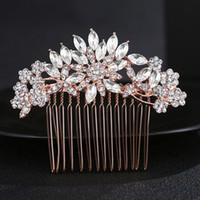 Великолепный арт-деко розовое золото Кристалл стразы цветочный цветок свадебный гребень для волос свадебные головные уборы волосы палку аксессуары для волос JCH029