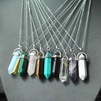 Jewelry Natural Stone Necklace Pendants Gold Chain Silver St...