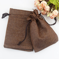 Hot sale 100 pcs Coffee color Linen Fabric Jute Drawstring b...