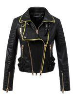 2018 Yeni Kadın Motorcle Biker Faux Deri Ceket Ve Mont Lady Slim Fit Turn-down Yaka Streetwear Giyim Yüksek Kalite