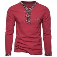 Camiseta larga de primavera Nuevos hombres de estilo nacional V Collar Color Lino Algodón Camiseta de manga larga Top para hombre Ropa