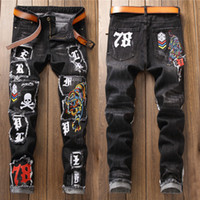 New Fashion Washed Worn Ricamato Tiger Skull Badge Patch Uomo Self-Coltivazione Pantaloni dritti Jeans Skinny
