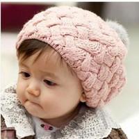 Miúdos Do Bebê Crianças Crochet Knitting Boina Cap Gorro Bonito Inverno Chapéu 4 Cores