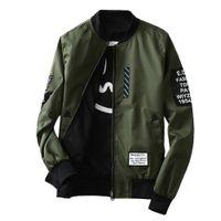 Nuovi Bomber Giacche da uomo Autunno Autunno Autunno Fashion Overcoat Green Verde / Nero Sottile Slim Fit uomo Vento Breaker Plus Size Cappotto M-4L