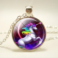 Europe and America popular necklace unicorn time gem glass p...