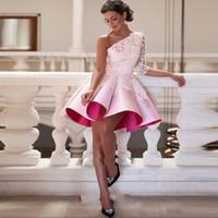 Rosa lindo barato Fiesta Vestidos cortos vestidos de baile 2020 de un hombro de bola del satén vestido de encaje mini vestidos del partido de graduación semi formal del vestido