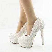 Spitze Hochzeitsschuhe 2018 Perlen Perlen Pumps High Heels Brautschuhe 5cm 8cm 11cm 14cm Bling Bling Prom Schuhe für die Dame