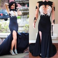 Sexy Mermaid Long Sleeves Prom Dresses High Neck Illusion Bo...