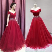 High Quality Beaded Crystal Red Long Prom Dresses 2020 Tulle...