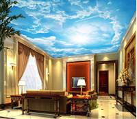 3D techo de papel tapiz personalizado Cielo paisaje 3d techo papeles de pared decoración del hogar 3d living comedor techo murales de papel pintado europeo