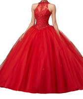 Red Beaded Quinceanera Dresses Sheer High Neck Sweet 16 Masq...