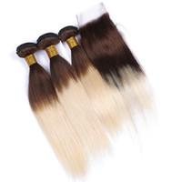 #4/613 блондинка омбре девственные волосы утки с закрытием шелковистые прямые корни коричневый блондинка омбре бразильские волосы 3Bundles с закрытием кружева 4x4