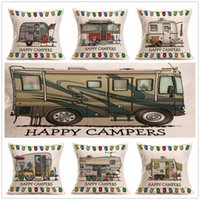 Happy Campers Pillowcase Travelling Car Cushion Cover home d...