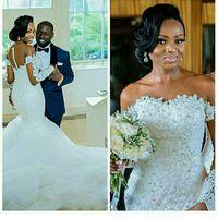 عالية الجودة الرباط حورية البحر فستان الزفاف مع الوهم كم طويل الزفاف ثوب الزفاف مصنع مخصص vestido دي noiva
